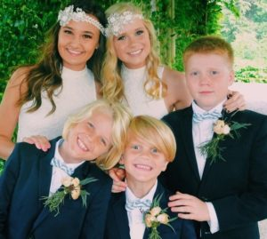 Sidney Fullmer with her brothers and best friend
